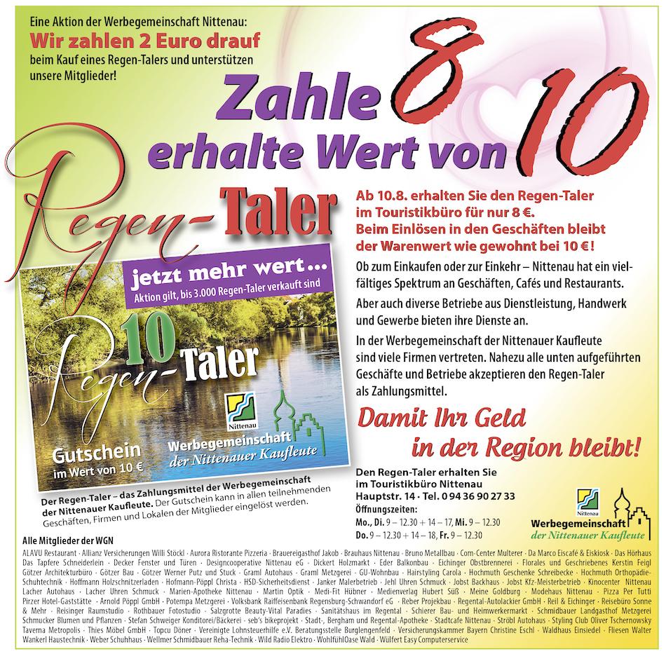 Regen-Taler - eine Aktion der Werbegemeinschaft Nittenau